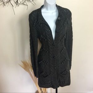 ANTHROPOLOGIE CHUNKY KNIT DUSTER CARDIGAN. Pockets